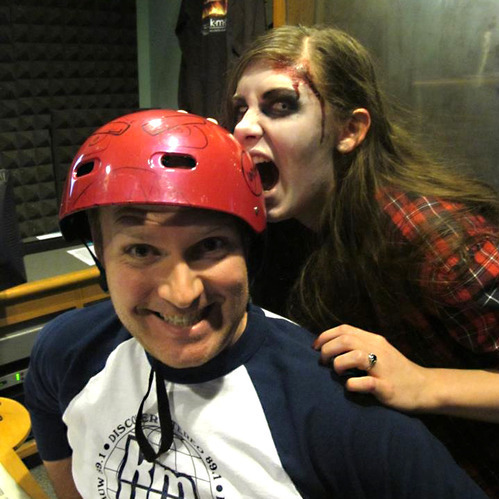 "KMUW Zombie Protection Helmet: Last year, Wichita did more than thank their radio supporters for pledging; they also helped protect listeners from harm during a zombie apocalypse, of course. The station offered protective helmets to those who contributed at the ""Zombie Apocalypse Premium Level."" They even brought in musician Jonathan Coulton to help explain: http://bit.ly/13UR0kl"
