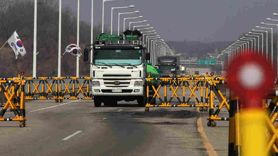 Turned back: South Korean trucks returned Wednesday after being barred from entering a joint industrial complex just across the border inside North Korea.