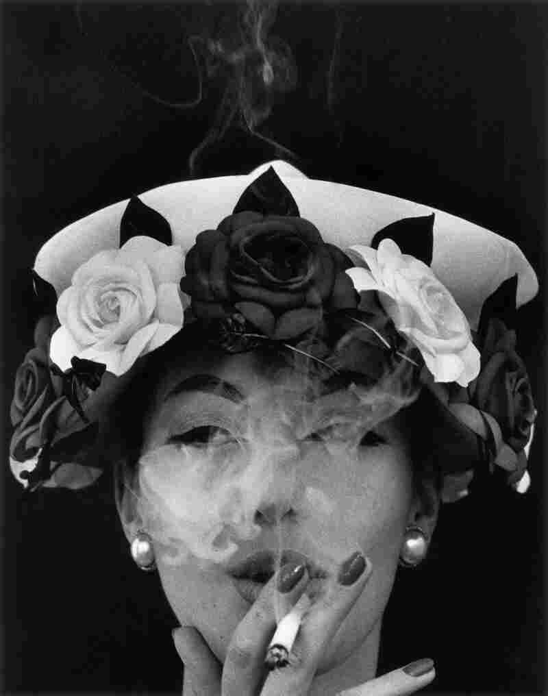 Hat and Five Roses, Paris (Vogue), 1956, cover of book In & Out of Fashion, Paris, 1994