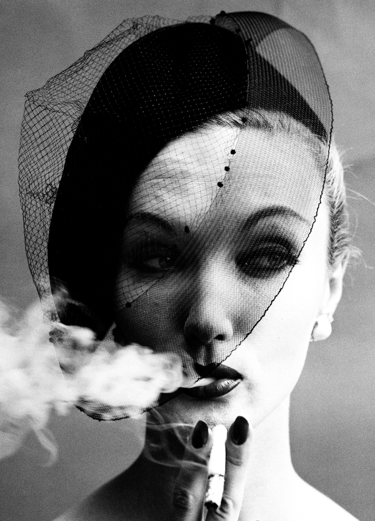 Smoke & Veil, Paris (Vogue), 1958, cover of book In & Out of Fashion, Paris, 1994