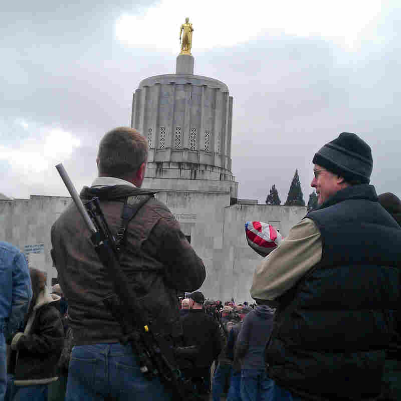 Gun rights supporters rally at the Oregon Capitol in February.