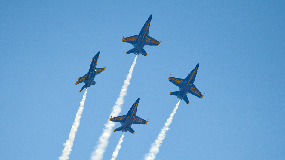 """The U.S. Navy's Blue Angels soar over the Florida Keys during a March 23 air show. The group has <a href=""""http://blog.al.com/gulf-coast/2013/04/blue_angels_practices_shows_ca.html"""">canceled several air shows</a> in <a href=""""http://www.blueangels.navy.mil/show/"""">April and May</a>, reportedly owing to budget cuts."""