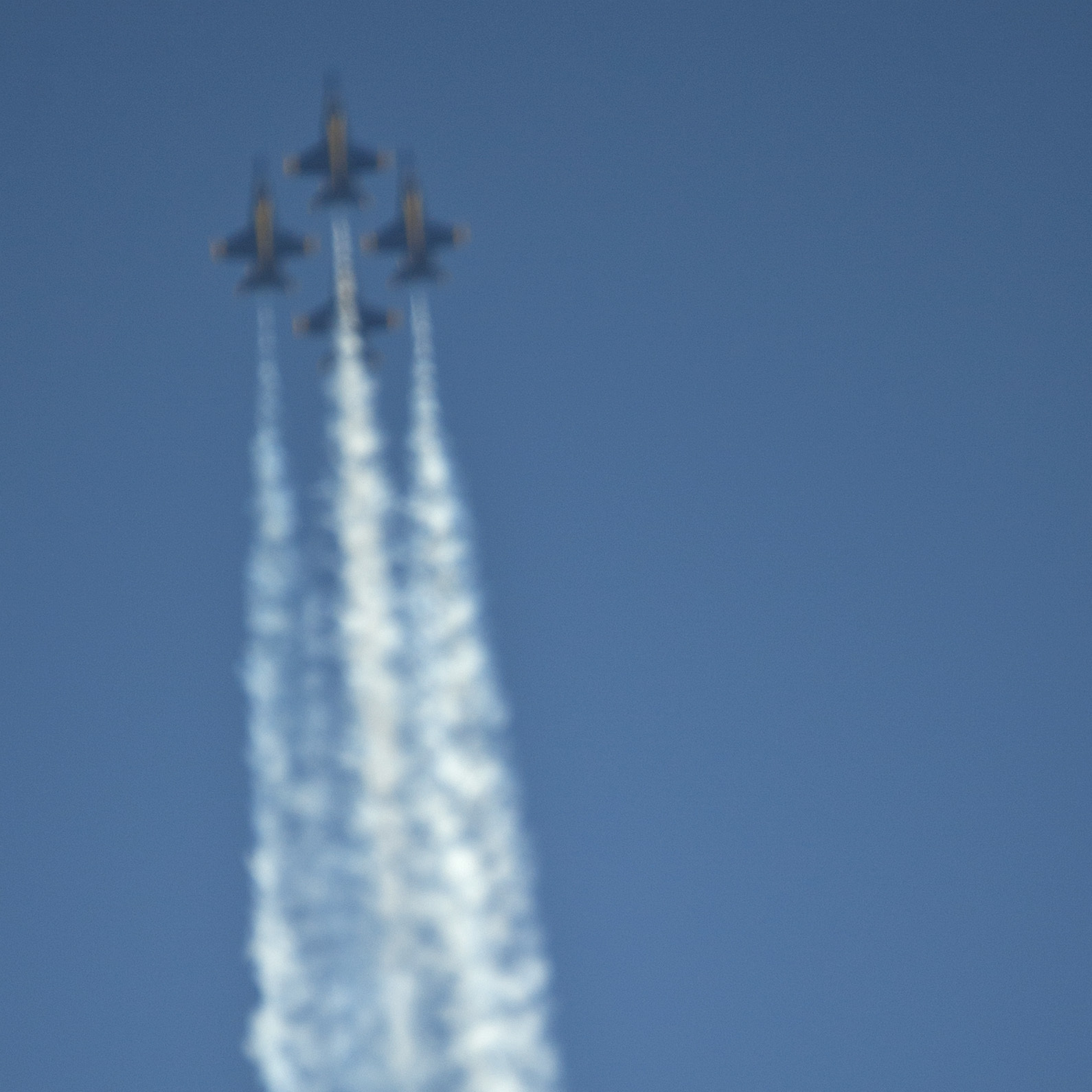 The U.S. Navy's Blue Angels soar over the Florida Keys and an osprey in flight during a March 23 air show. The group has canceled several air shows in April and May owing to budget cuts.