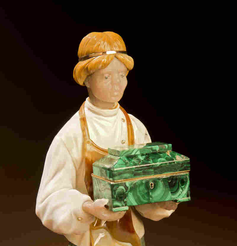 Danila is the sculpture that marks Konovalenko's entry into gem carving. Konovalenko was working at the Maryiinsky Theatre in St. Petersburg when he had to make a malachite box for the stonecutter Danila, the protagonist in the ballet Stone Flower.