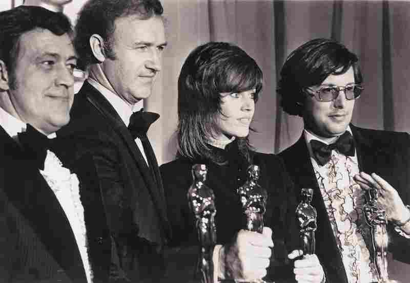 The French Connection won five Oscars at the 1972 Academy Awards, including best picture. From left are Phil D'Antoni, Gene Hackman, Jane Fonda and William Friedkin.