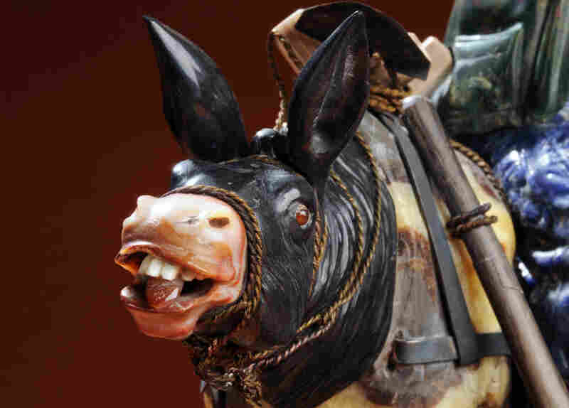 Gold Prospectors is the only sculpture with an American theme; it was completed during the 1981-1984 period. Here is a detail of the donkey's expressive face, braying his displeasure at the folly of his mining owners.