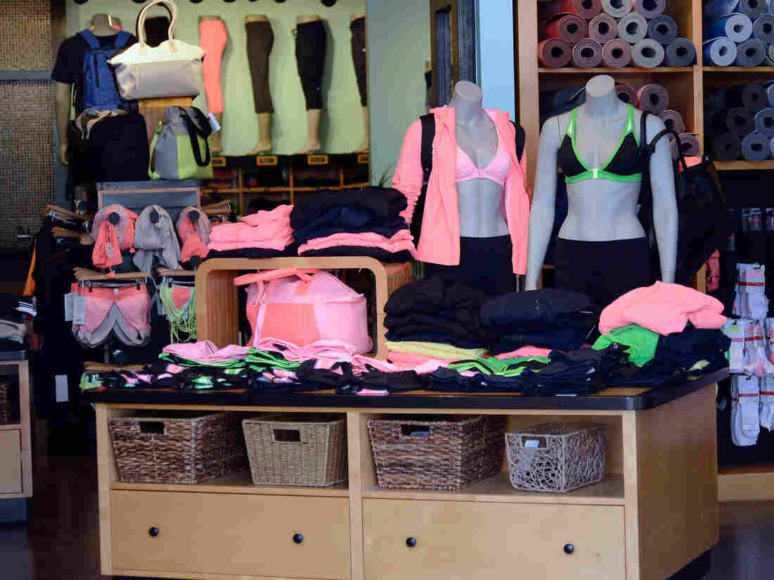 Lululemon clothes at a store in Pasadena, Calif.