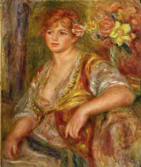 While art critics sometimes call Renoir's late period overly emotional, works like Blonde a la rose, shown here, were an inspiration to film director Gilles Bourdos. Andree Heuschling, a main character in the film, is credited as the model for this painting.