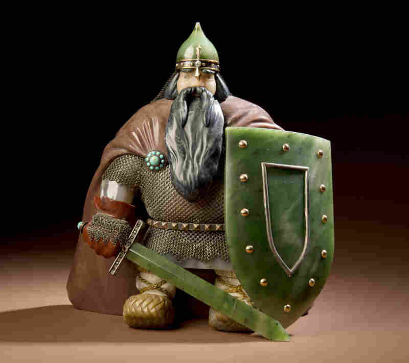 "Warrior is a classic Russian piece created in 1961. His shield and sword are nephrite, which Konovalenko loved to carve, for it had ""special qualities like no other stone."""