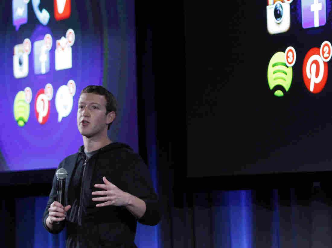 "CEO Mark Zuckerberg at Thursday's ""Facebook phone"" announcement."