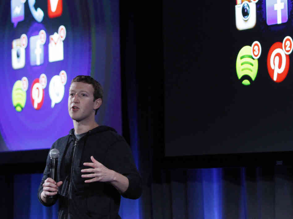 "CEO Mark Zuckerberg at Thursday's ""Facebook phone"" announc"