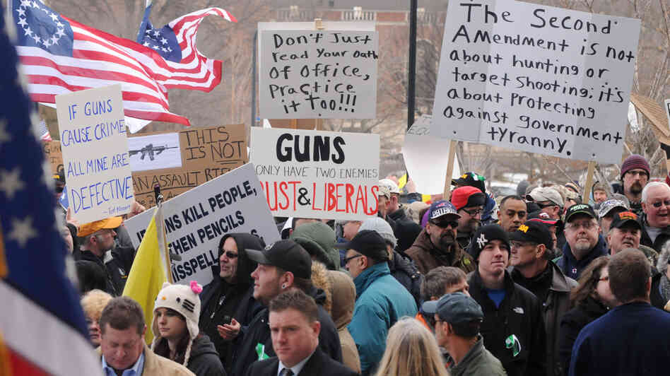 Hundreds of gun owners and enthusiasts attend a rally at the Connect