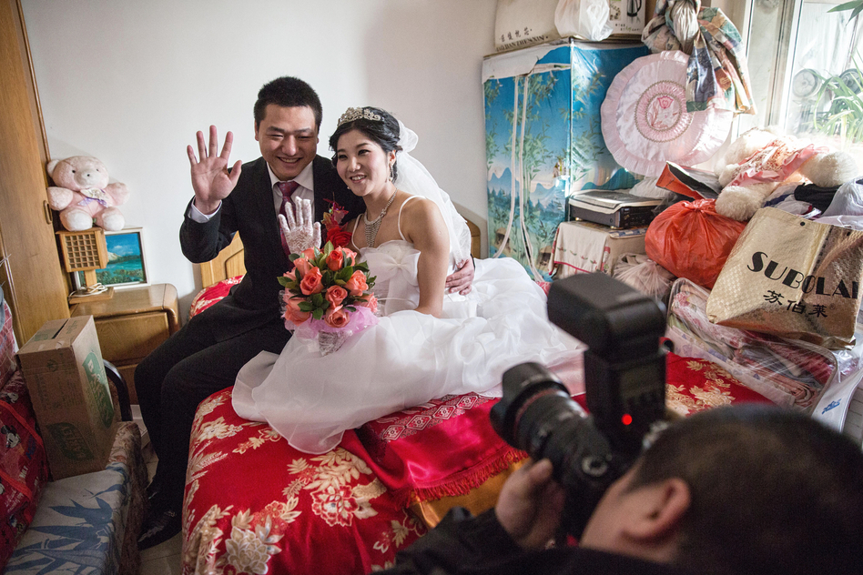 "Lucy Wang and Derek Wei represent the new modern Chinese bride and groom. With a lack of women in China, Wei had to pay more than $10,000 in a ""bride price"" to attract Wang to marry him."