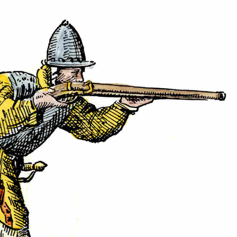 A Spanish soldier aiming an arquebus in the New World, late 1500s. Hand-colored 19th-century woodcut reproduction of an earlier illustration.
