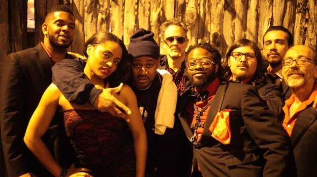 Ghostface Killah with Adrian Younge and his band, Venice Dawn, after their first performance together. Ghostface Killah and Adrian Younge's new album, Twelve Reasons To Die, comes out April 16. (Courtesy of the artists)