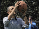 President Barack Obama shoots a basketball during the annual Easter Egg Roll on the South Lawn of the White House on April 1.