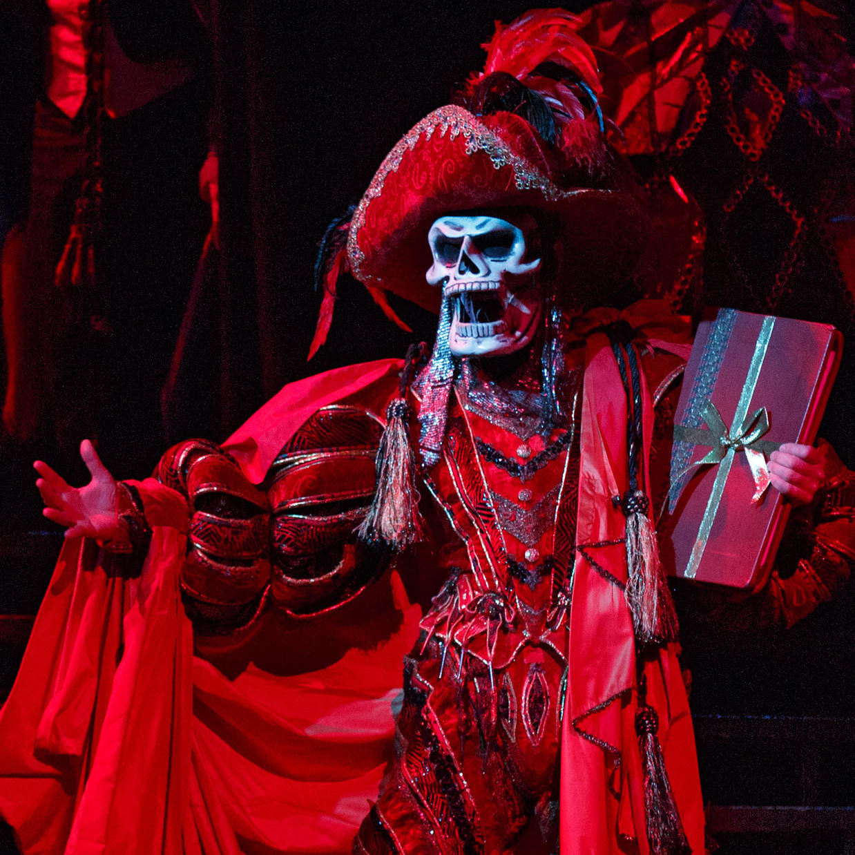 Hugh Panaro plays the title character -- here done up as The Red Death for the show's spectacular masked-ball scene -- in The Phantom of the Opera, Broadway's longest-running show. Twenty-two years ago, Panaro made his debut with the show as Raoul, the male romantic lead.