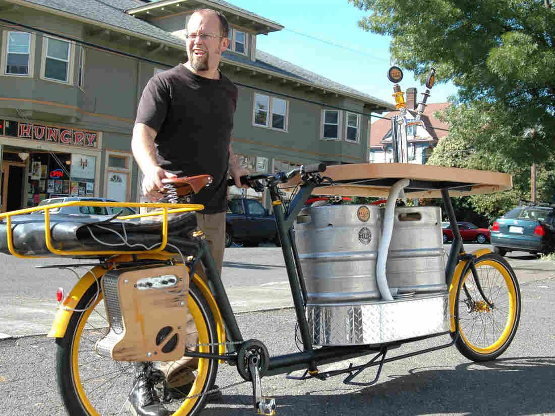 "Oh, Portland: the Hopworks Urban Brewery's ""pub bike."""