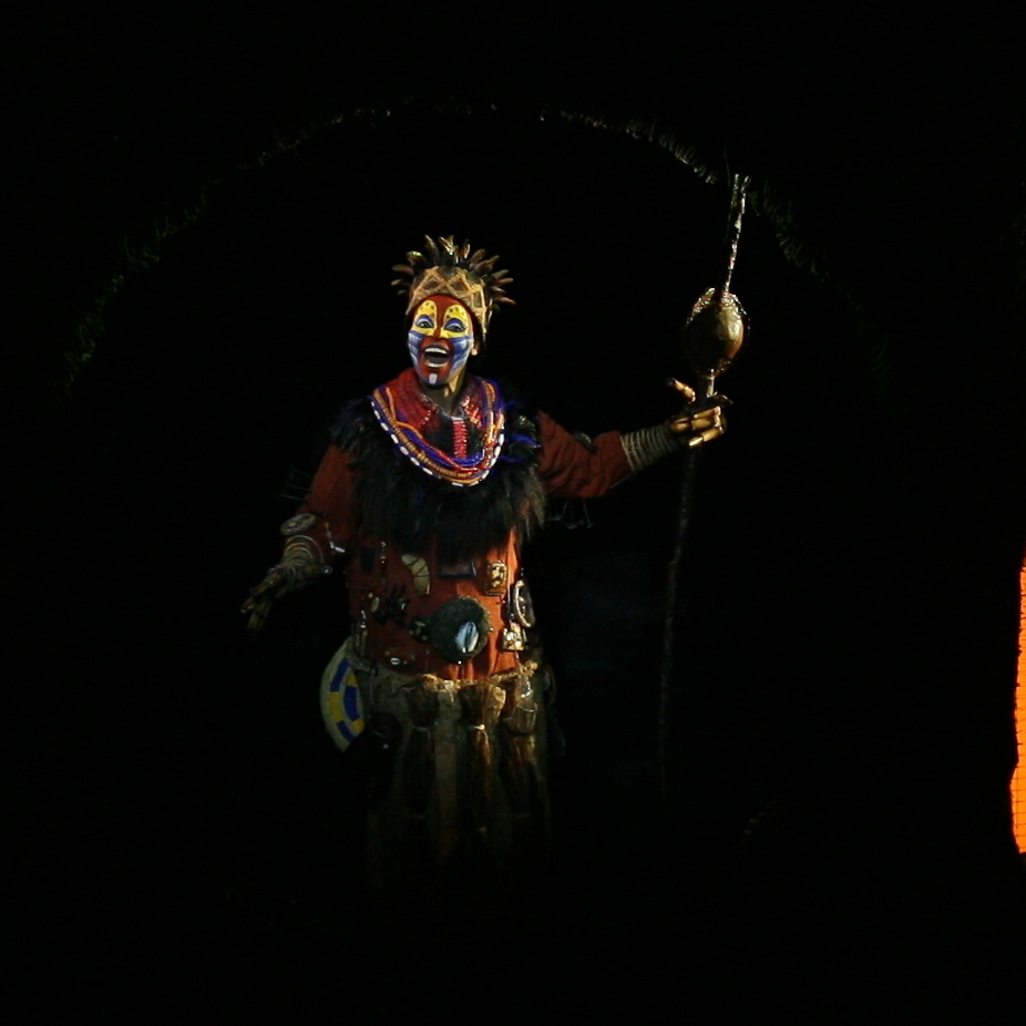 Tshidi Manye (center) as the baboon narrator Rafiki, with the ensemble of The Lion King. The long-running adaptation of the popular Disney animated film has been on Broadway for 15 years.