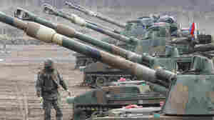 South Korea conducts military exercises near the border with North Korea on Wednesday.