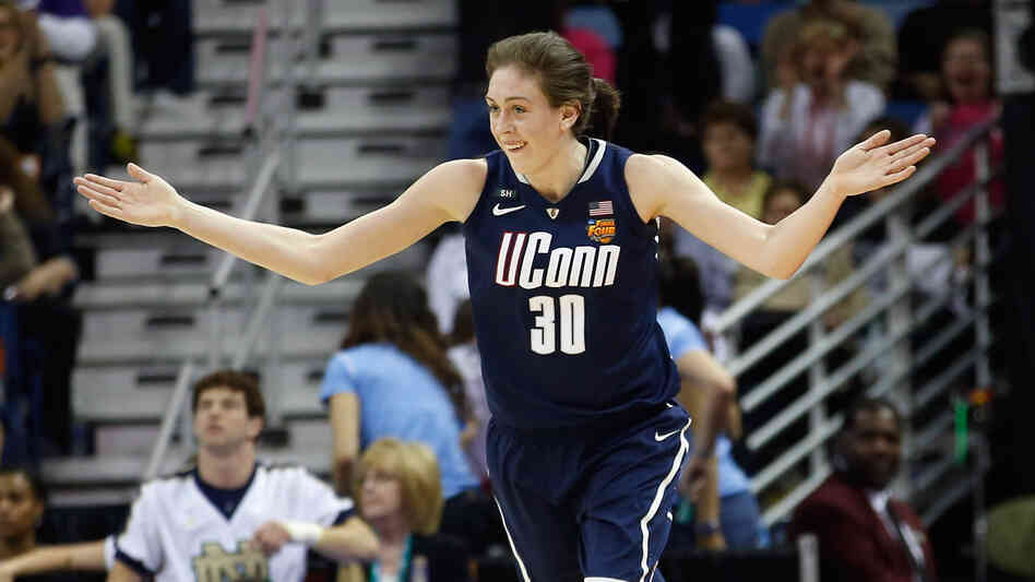 Breanna Stewart of the Connecticut Huskies reacts to a 3-point shot against Notre Dame during the NCAA semifinal game Sunday. UConn won 83-65.