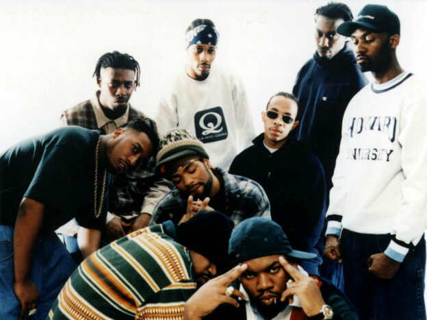 The Wu-Tang Clan. Clockwise from left: Ol' Dirty Bastard, the GZA, the RZA, Inspectah Deck, Masta Killa, Raekwon and Ghostface Killah. Center, from left, Method Man and U-God.