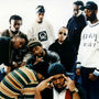The Wu-Tang Clan. Clockwise from left: Ol' Dirty Bastard, the GZA, the RZA, Inspectah Deck, Masta Killa, Raekwon and Gh