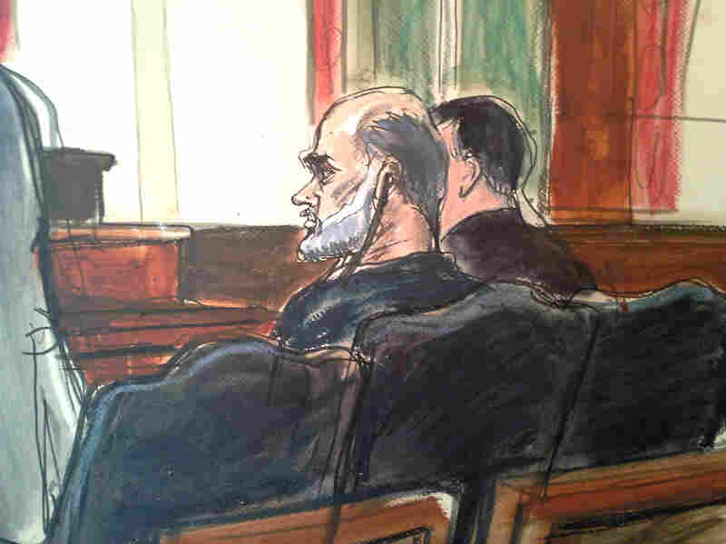 Osama bin Laden's son-in-law, Sulaiman Abu Ghaith (center), pleaded not guilty to a charge of conspiracy to kill Americans on March 8. He is set to appear in a federal court Monday.