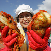Kimchi is a traditional pungent fermented Korean dish made of vegetables with a variety of seasonings.