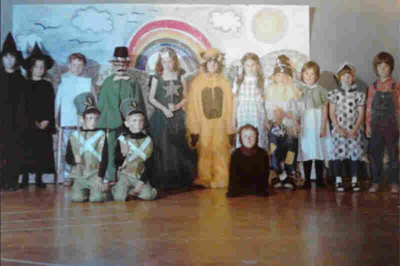 """""""This is a photo from 1977 when the 1st-grade class of Miss Franceschetti and the kindergarten class of Mrs. MacNabb took on the challenge of the FULL Wizard of Oz script and musical production. ... Recently the photo was shared on Facebook reconnecting the cast who shared their fond memories of being a part of the play over 35 years ago."""" — Debbie (Coccia) Young, 42, Wicked Witch of the West"""