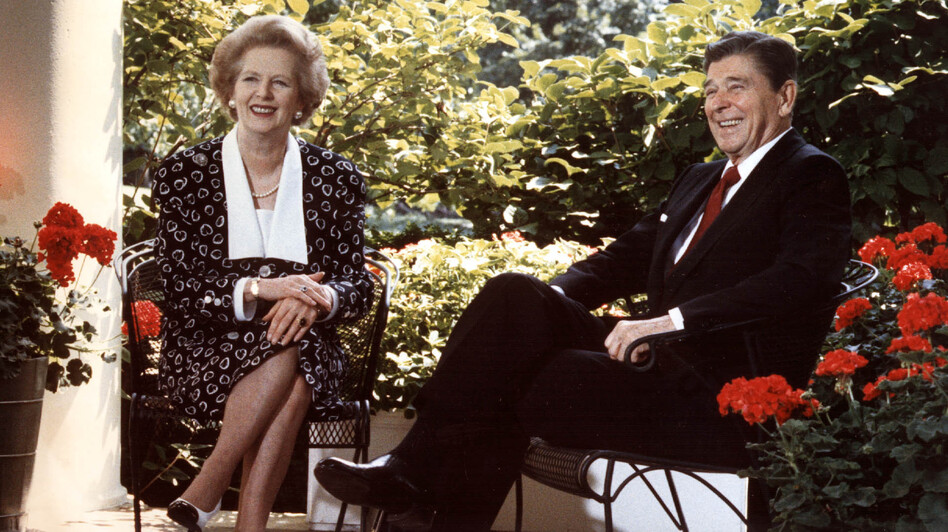 U.S. President Ronald Reagan and British Prime Minister Margaret Thatcher in 1987. (AFP/Getty Images)