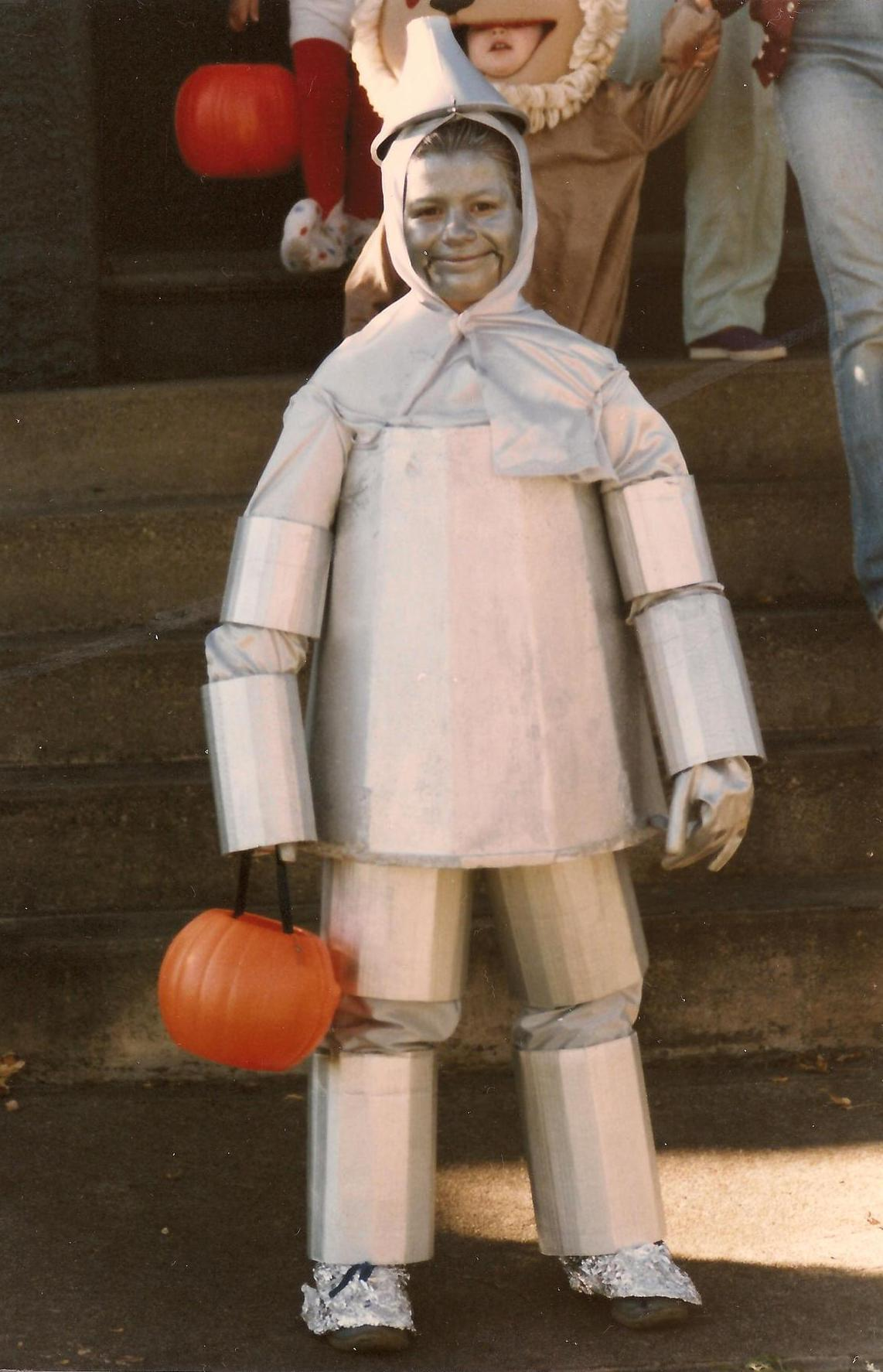 """I have always been terrified of The Wizard of Oz. My mom made me this costume at age 8 to go along with my siblings and cousins as a group for trick-or-treating that year. Because every 8-year-old girl wants to be the Tin Man for Halloween? My 'body' was made of a Styrofoam container a rose bush came in. I couldn't sit or go to the bathroom all day."" -- Nina Schmidt, 35"