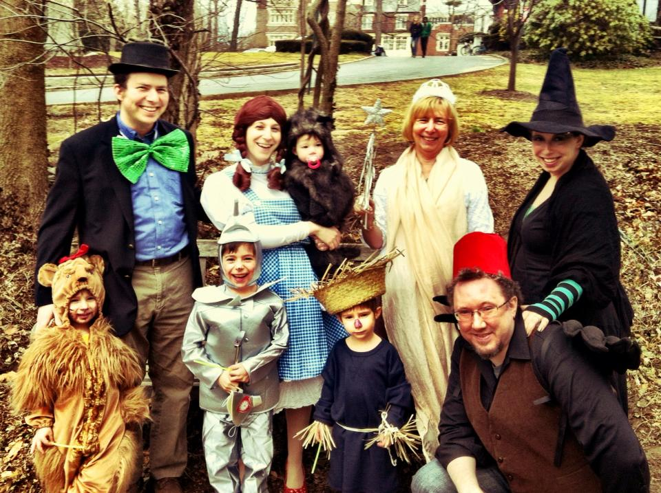 """Here is the Wolkenfeld Family dressed for Purim 2013. The theme was chosen collectively, and the kids worked out who should be which character. Top, from left: Rabbi David Wolkenfeld, Sara Wolkenfeld, Sophie (1), Grandma Jo Lang, Aunt Debra Tillinger. Bottom: Hillel (4), Noam (6), Akiva (4), and Uncle Richie Miller."" -- submitted by drmermaid"