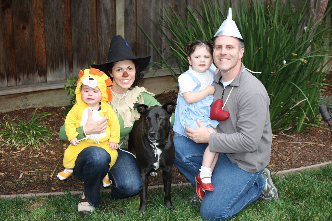 """Welcome to Oz -- Colin the Cowardly Lion, Karen the Scarecrow, Napoleon as Toto, Lauren as Dorothy, and Scott as the Tin Man. This imaginative book and movie has captured the heart of my daughter! She loves the whimsical characters and the catchy tunes of the movie."" -- Karen Hamilton, 36, San Jose, Calif."