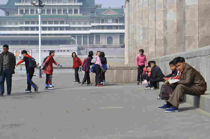 Instead of military rallies, Patrick Thornquist (not pictured), an American tourist who was in Pyongyang last week, saw North Korean children in-line skating around Kim Il Sung Square.