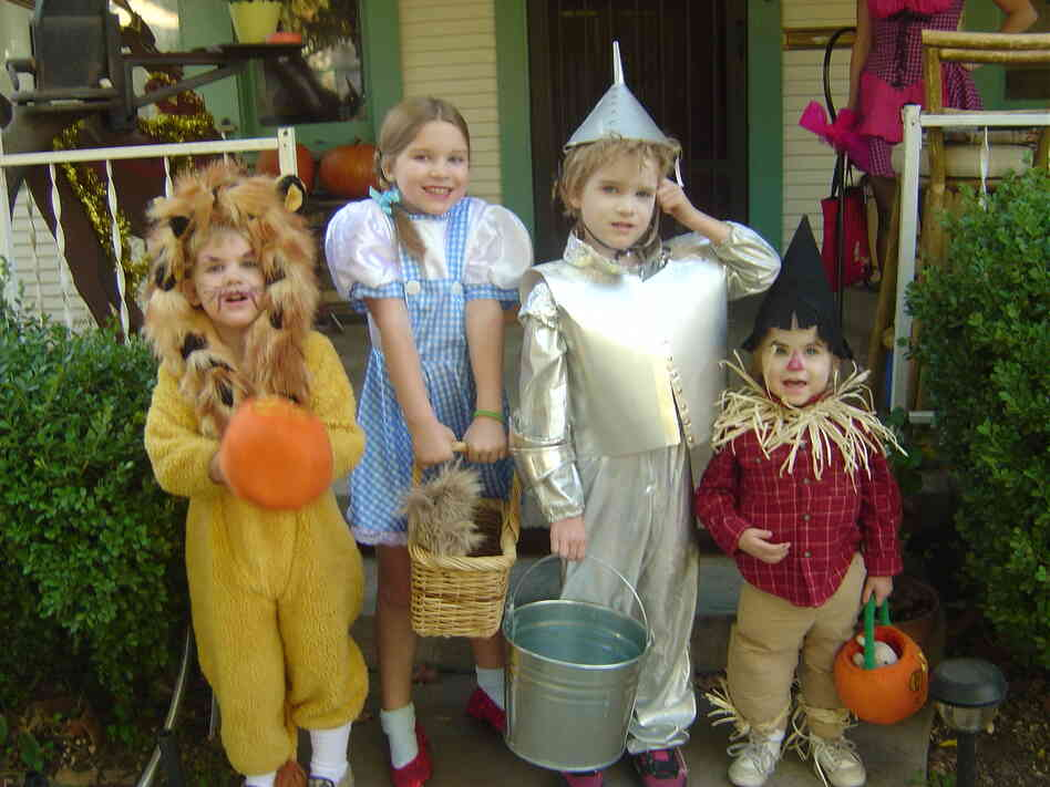 """My four oldest grandchildren, the Weitzes of Oz, on Halloween 2006 in Stockton, Calif. These costumes were a collaboration by me and their paternal grandmother. They were actually the second generation of Wizard of Oz trick-or-treaters. Their mom, aunt and two friends did it first in 1984."" — Ava Simpson"