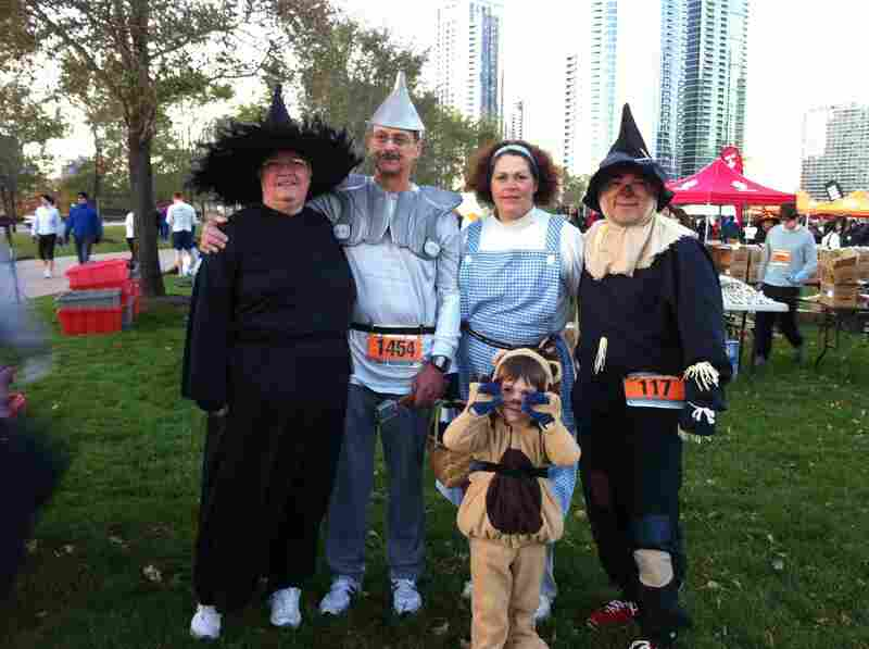 """Because we went from Kansas to Chicago for a Halloween-themed race (the Monster Dash) in 2011, we thought we'd represent the state by dressing as some familiar characters. I think our 4-year-old Lion was the most popular. We even won for best costumes!"" — Eric R. Price"
