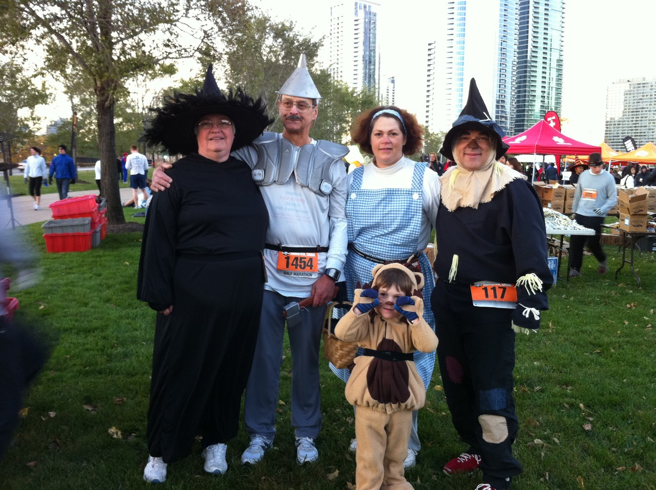 """Because we went from Kansas to Chicago for a Halloween-themed race (the Monster Dash) in 2011, we thought we'd represent the state by dressing as some familiar characters. I think our 4-year-old Lion was the most popular. We even won for best costumes!"" -- Eric R. Price"