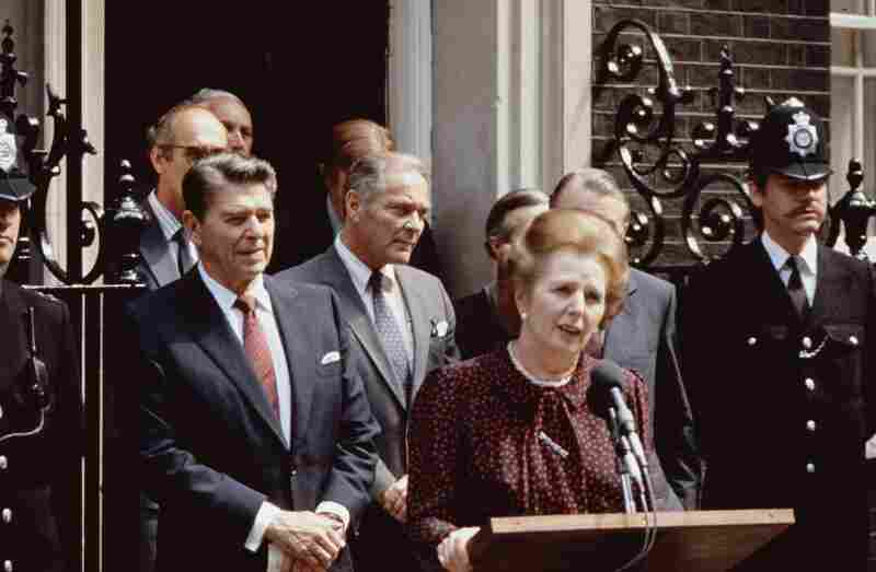 Thatcher, President Ronald Reagan and U.S. Secretary of State Alexander Haig (center) outside No. 10 Downing St. during Reagan's state visit to London. Reagan and Thatcher had a close working relationship.