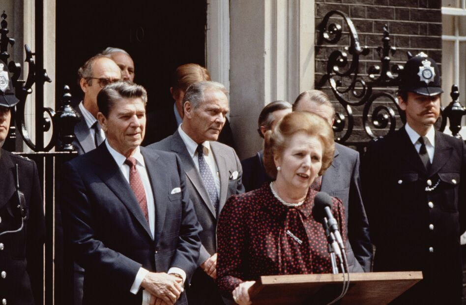 Thatcher, President Ronald Reagan and U.S. Secretary of State Alexander Haig (center) outside No. 10 Downing St. during Reagan's state visit to London. Reagan and Thatcher had a close working relationship. (Getty Images)