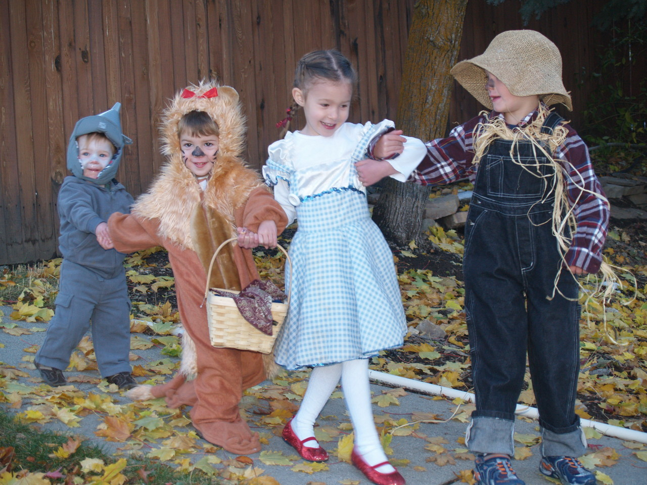 """'We're off to see the Wizard' ... my amazing children (5, 4, 2 and 1) sang as they acquired more and more candy from the neighbors."" -- Bethany Jones"