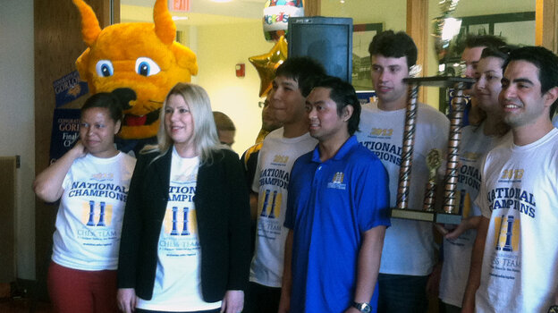 Webster University chess coach Susan Polgar, second from left, won two national titles at Texas Tech. When Webster hired Polgar last year, the entire Tech team followed her to St. Louis.