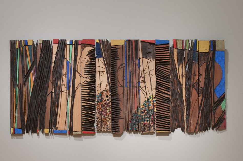 Anatsui's Conspirators (1997) is made up of individual strips of wood that can be arranged differently each time it's installed. (Courtesy the artist, Jack Shainman Gallery, New York, and the Akron Art Museum)