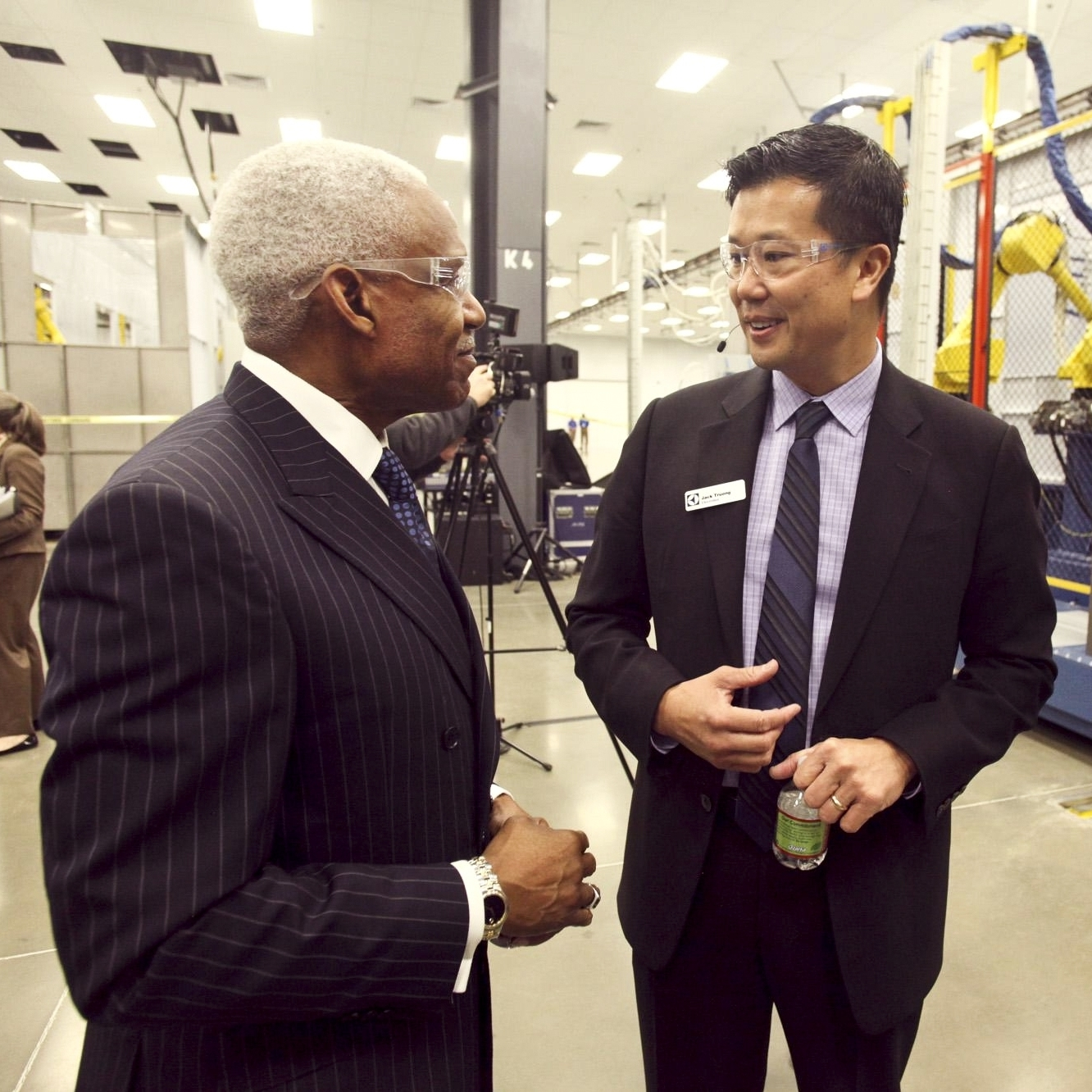 Memphis Mayor A C Wharton (left) with Jack Truong of Electrolux at the company's new plant. The city used a large incentive package to entice the company.