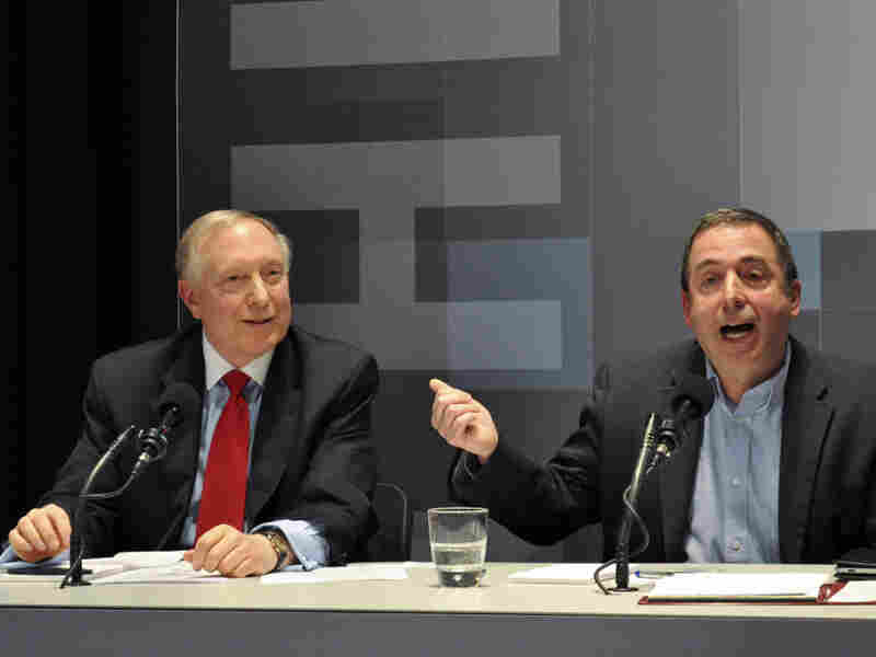 James A. Dorn (left) and Russ Roberts argue for abolishing the minimum wage in an Intelligence Squared U.S. debate.