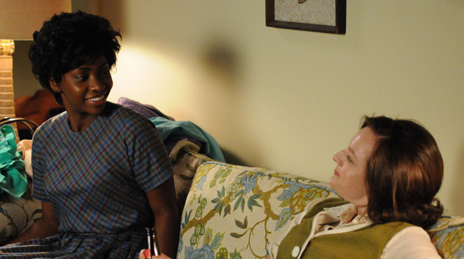 "Dawn Chambers (Teyonah Parris) and Peggy Olson (Elisabeth Moss) in an episode from last season's ""Mad Men."" (AMC)"