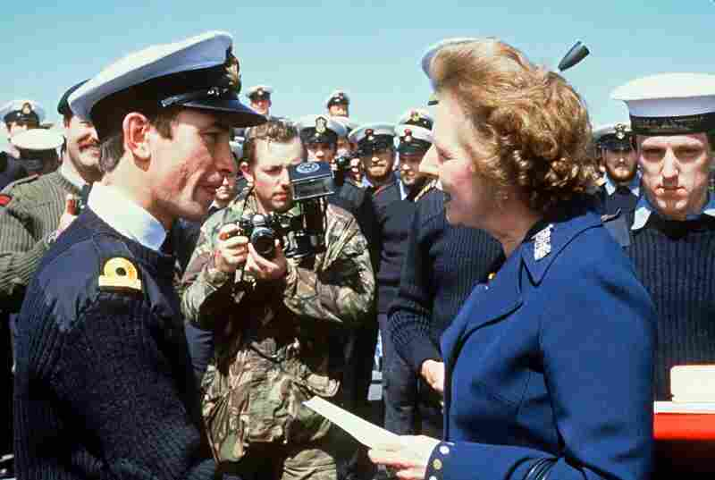 British Prime Minister Margaret Thatcher meets personnel aboard the HMS Antrim 08 January 1983 during her five-day visit to the Falkand Islands.