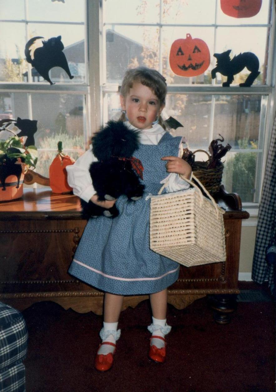"""My mother took great pride and pleasure in designing my elaborate Halloween costumes each year. In 1987, when I was 3 years old, she handmade this adorable Dorothy costume. ... I am now an English teacher, and I keep two copies of the book in my classroom library. It is a timeless classic that captures the heart of the reader, regardless of his or her age."" -- Stephanie Moore"