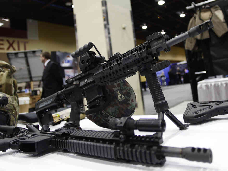 This AR-15 style weapon was on display in March at the 7th annual Border Security Expo in Phoenix, Ariz. It's among the type of weapons tha