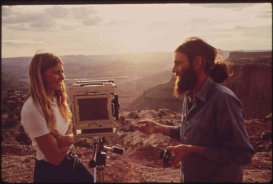 Setting up a camera at Anticline Overlook in Canyonlands National Park, San Juan County, Utah.